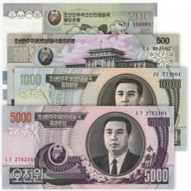 Korea 200, 500, 1000, 5000 Won Set 4 PCS, 2005-07, P-45, 46, 48, 55, UNC