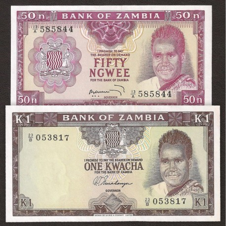 Zambia 50 Ngwee, 1 Kwacha SET 2 PCS, Sign 3 and 4, 1969, P-9b, 10b, UNC