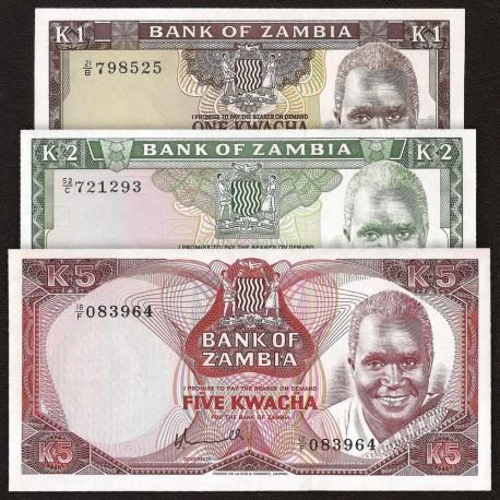 Zambia 1, 2, 5 Kwacha SET 3 PCS, 1974 1976, P-19, 20, 21, UNC