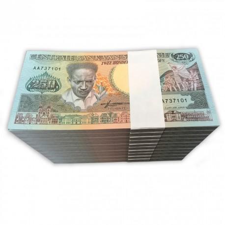 Suriname 250 Gulden X 1000 PCS, Full Brick, 1988, P-134, UNC