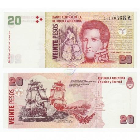 Argentina 20 Pesos, 1999-2003, P-349, UNC