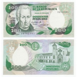 Colombia 200 Pesos, 1984, P-429b, UNC
