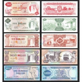 Guyana 1, 5, 10, 20, 100 Dollars Set 5 PCS, 1983 1989, P-21 22 23 27 28, UNC