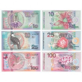 Suriname 10, 25, 100 Gulden Set 3 PCS, 2000, P-147, 148, 149, UNC