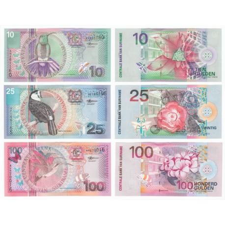 Suriname 10, 25, 100 Gulden Set 3 PCS, 2000, P-147, 148, 149, UNC