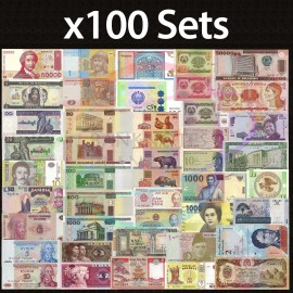 100 SETS X World 50 PCS Uncirculated Banknotes Set 28 Different Countries Currency Lot UNC