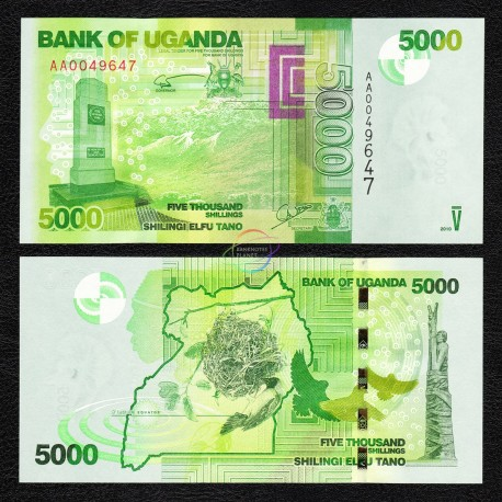Uganda 5,000 Shillings, 2010, P-51, UNC