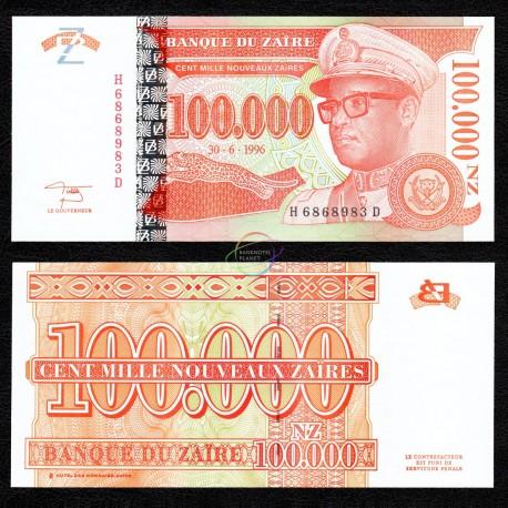 Zaire 100,000 Zaires, 1996, P-77, UNC