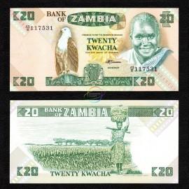 Zambia 20 Kwacha, 1980-88, P-27e, UNC