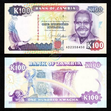 Zambia 100 Kwacha, 1991, P-34, UNC