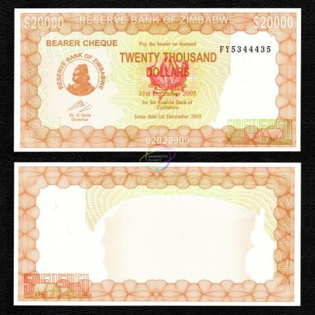 Zimbabwe 20,000 Dollars, 2003, P-23, UNC