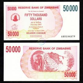 Zimbabwe 50,000 Dollars, Bearer Cheque, 2007, P-47, UNC