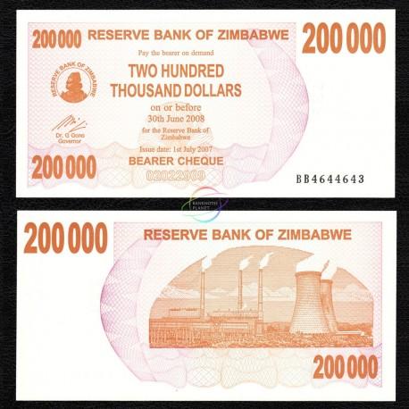 Zimbabwe 200,000 Dollars, Bearer Cheque, 2007, P-49, UNC