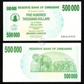 Zimbabwe 500,000 Dollars, Bearer Cheque, 2007, P-51, UNC