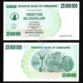 Zimbabwe 25 Million Dollars, Bearer Cheque, 2008, P-56, UNC
