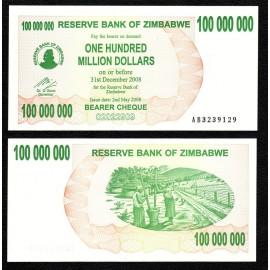 Zimbabwe 100 Million Dollars, Bearer Cheque, 2008, P-58, UNC