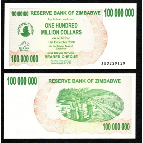 Zimbabwe 100 Million Dollars, Bearer Cheque, 2008, P-58, UNC