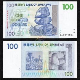Zimbabwe 100 Dollars, 2007, P-69, UNC