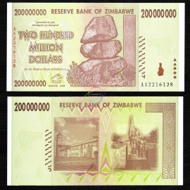 Zimbabwe 200 Million Dollars, 2008, P-81, UNC