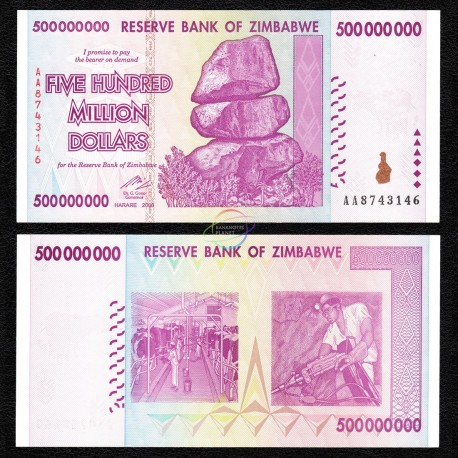 Zimbabwe 500 Million Dollars, 2008, P-82, UNC