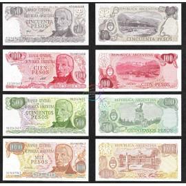 Argentina 50, 100, 500, 1000 Pesos Set, 1976-78, P-301, 302, 303, 304, UNC