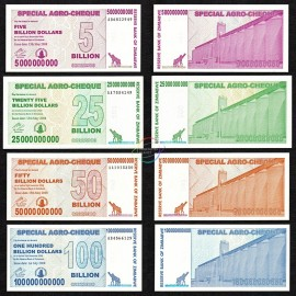 Zimbabwe 5, 25, 50, 100 Billion Dollars Set, Bearer Cheque, 2008, P-61, 62, 63, 64, UNC