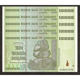 Zimbabwe 10 Trillion Dollars X 5 PCS, P-88, 2008, UNC