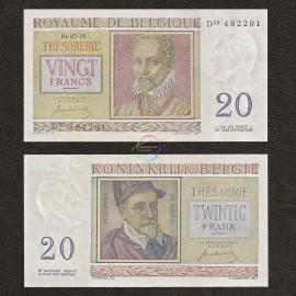 Belgium 20 Francs, 1950, P-132a, UNC