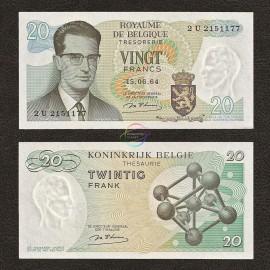 Belgium 20 Francs, 1964, P-138, UNC