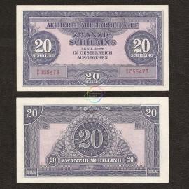 Austria 20 Shillings, 1944, P-107, AUNC
