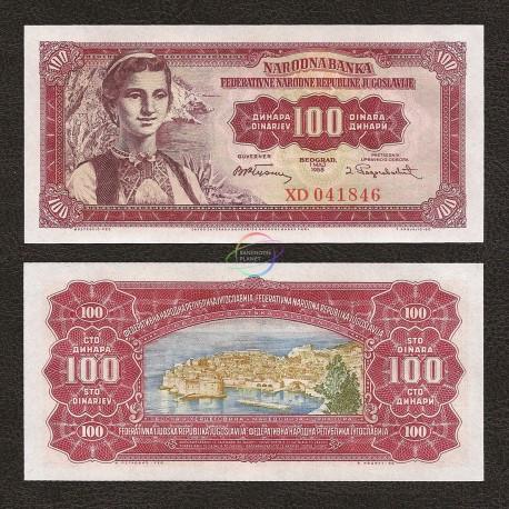 Yugoslavia 100 Dinara, 1955, P-69, UNC