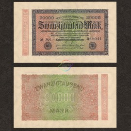 Germany 20,000 Mark, 1923, P-85, AU