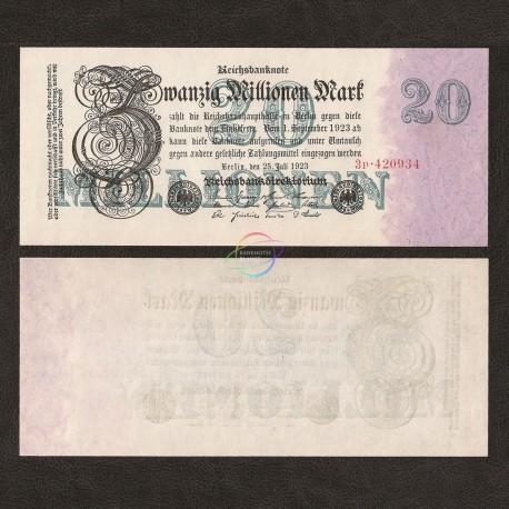 Germany 20 Million Mark, 1923, P-97, UNC