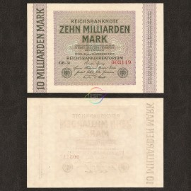 Germany 10 Billion Mark, 1923, P-117b, AU-UNC
