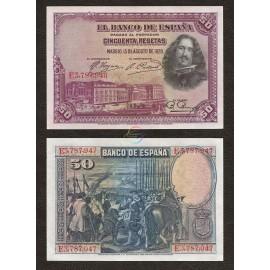 Spain 50 Pesetas, 1928, P-75b, UNC