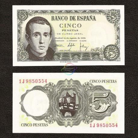 Spain 5 Pesetas, 1951, P-140, UNC