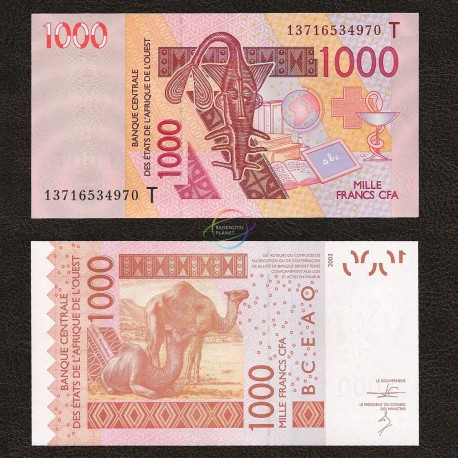 West African States, Togo 1000 Francs, 2003, P-815T, UNC