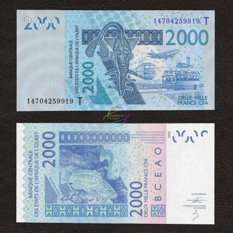 West African States, Togo 2000 Francs, 2003, P-816T, UNC