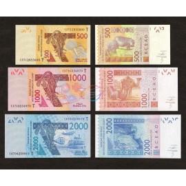 West African States, Togo 1000, 2000, 500 Francs Set 3 PCS, 2003 2012, P-815T, 816T, 819T, UNC