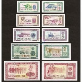 Albania 1, 3, 5, 10, 50 Leke Set, 1976, P-40, 41, 42, 43, 45, UNC