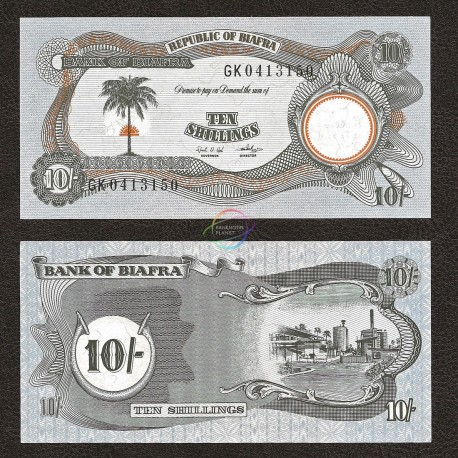 Biafra 10 Shillings, 1968-69, P-4, UNC