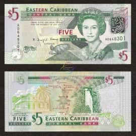 East Caribbean 5 Dollars, QE II, 2008, P-47, UNC