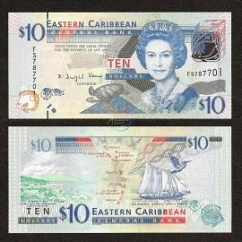 East Caribbean 10 Dollars, QE II, 2012, P-52, UNC