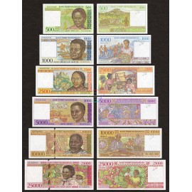 Madagascar 500, 1000, 2500, 5000, 10000, 25000 Francs Set 6 PCS, 1994-98, P-75-76-81-78-79-82, UNC