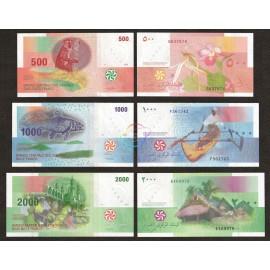 Comoros 500, 1000, 2000 Francs Set, 2005-06, P-15, 16, 17, UNC