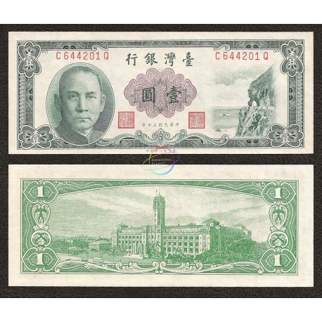 China 1 Yuan, 1961, P-1971a, UNC
