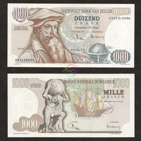 Belgium 1000 Francs, 1973, P-136, AU