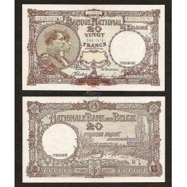 Belgium 20 Francs, 1945, P-111, UNC