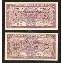 Belgium 5 Francs, 1943, P-121, UNC