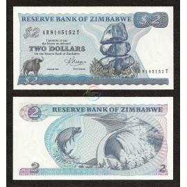 Zimbabwe 2 Dollars, 1983, P-1b, UNC